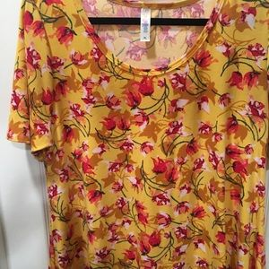 Lularoe Perfect XL dark yellow bkgrnd floral